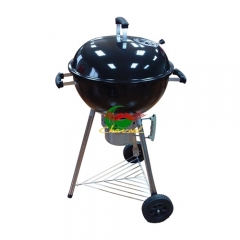 Promotion New Portable Black Trolley BBQ Grill Charcoal Barbecue Wood Barbeque Picnic