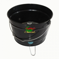 Metal powder coat finish portable charcoal bbq bucket grill